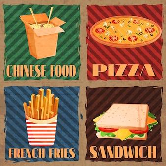 Schede del menu fast food