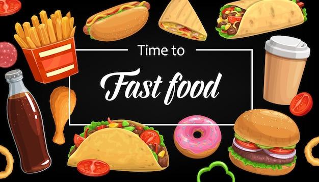 Copertura del menu fast food, patatine fritte hamburger. cola, caffè e anelli di cipolla con doner kebab o burritos con hot dog. pasti e bevande di cibo di strada. poster di cartone animato con hamburger e snack combinati