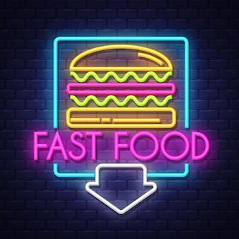 Insegna al neon di fast food Vettore Premium