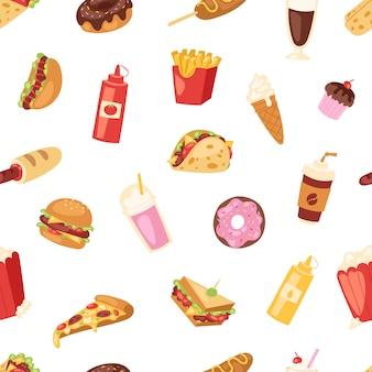 Fast food nutrizione americano hamburger o cheeseburger malsano mangiare concetto spazzatura fast-food snack hamburger o sandwich e bibite illustrazione sfondo modello senza giunture