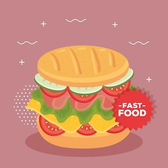Poster di fast food, con delizioso panino