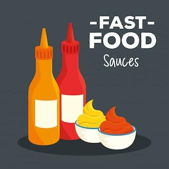 Poster di fast food, con deliziose salse