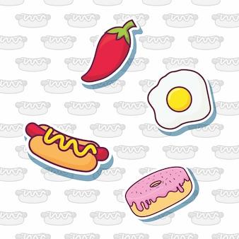 Icone relative al fast food sopra fondo bianco