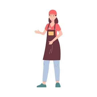 Carattere femminile del lavoratore del ristorante o del caffè degli alimenti a rapida preparazione in grembiule e cappuccio dell'uniforme, illustrazione piana di vettore isolata su superficie bianca