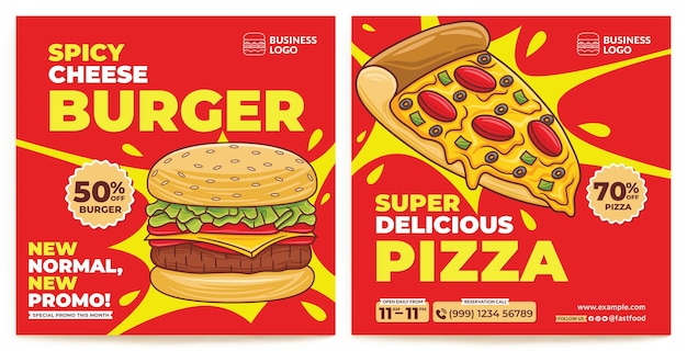 Modello di feed instagram promozione ristorante fast food in stile design piatto