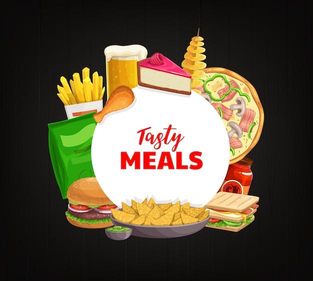 Fast food rotondo banner patatine fritte