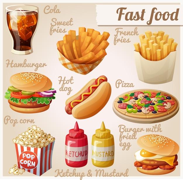Insieme degli alimenti a rapida preparazione delle icone dell'alimento di vettore del fumetto