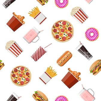 Modello senza cuciture stabilito degli alimenti a rapida preparazione. pizza hamburger, hot dog, pollo fritto, patatine fritte, popcorn, ciambella, cocktail al latte, cola soda, gelato, bicchiere di carta. fast food. illustrazione vettoriale in stile piatto