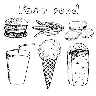 Set di fast food, illustrazione vettoriale, hamburger, patatine fritte, bocconcini di pollo, bevanda, gelato e panino, schizzo