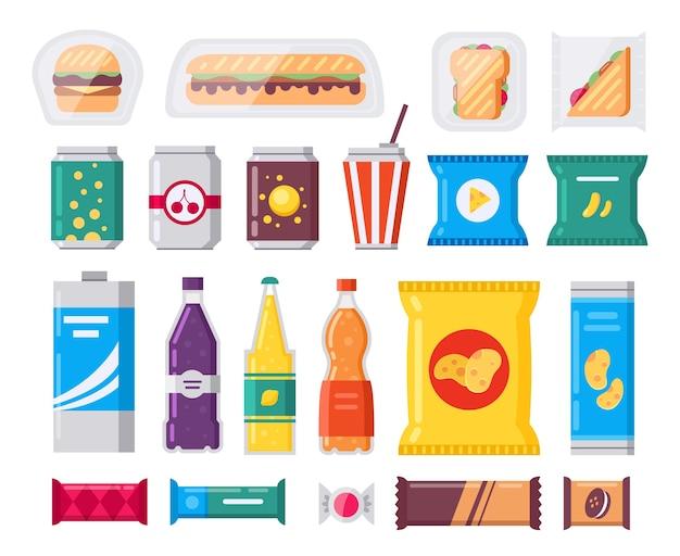 Pacchetto di snack e bevande fast food, set di icone in stile piatto. raccolta di prodotti di vendita. spuntini, bevande, patatine, cracker, caffè, panino isolato su priorità bassa bianca.