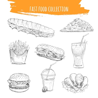 Icone di schizzo di snack e dessert di fast food