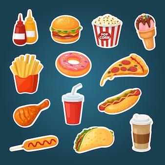 Fast food adesivi hamburger popcorn patatine hot dog ketchup bevande pollo ciambella tacos gelato
