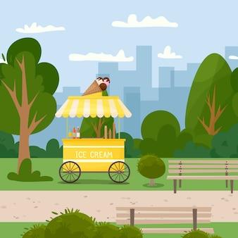 Carretto del gelato di strada di fast food. il cibo nel parco