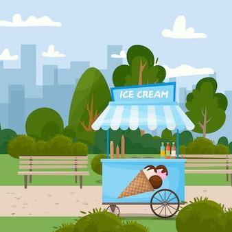 Fast food street food carretto del gelato nel parco