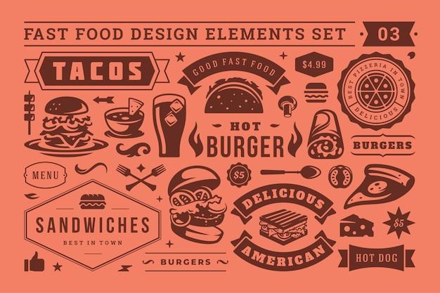 Alimenti a rapida preparazione e segnali stradali e simboli con il retro insieme tipografico di vettore degli elementi di progettazione
