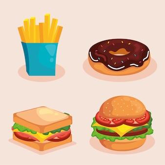 Set di simboli di fast food di mangiare il ristorante e il tema del menu.