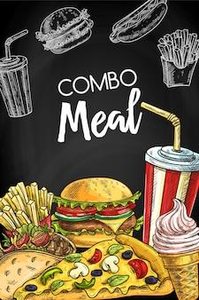 Modello di copertina del menu lavagna fast food da asporto.