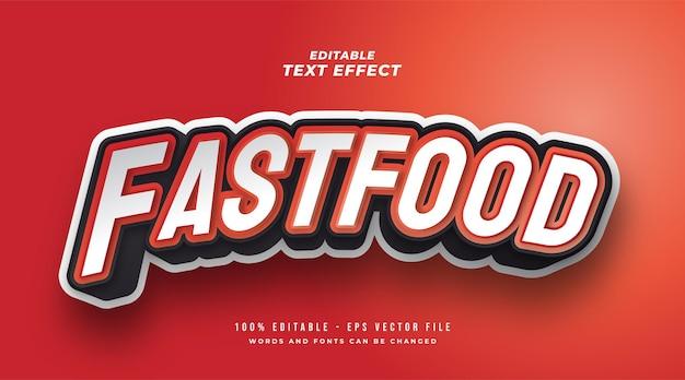 Stile di testo fast food in bianco, rosso e nero con effetto rilievo 3d. effetto stile testo modificabile