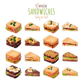 Tema del fast food: grande set di diversi tipi di sandwich.