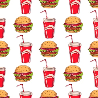 Modello senza cuciture a tema fast food