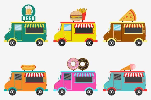 Camion di fast food set di negozi di strada su furgone birra donut burger e patatine fritte hot dog