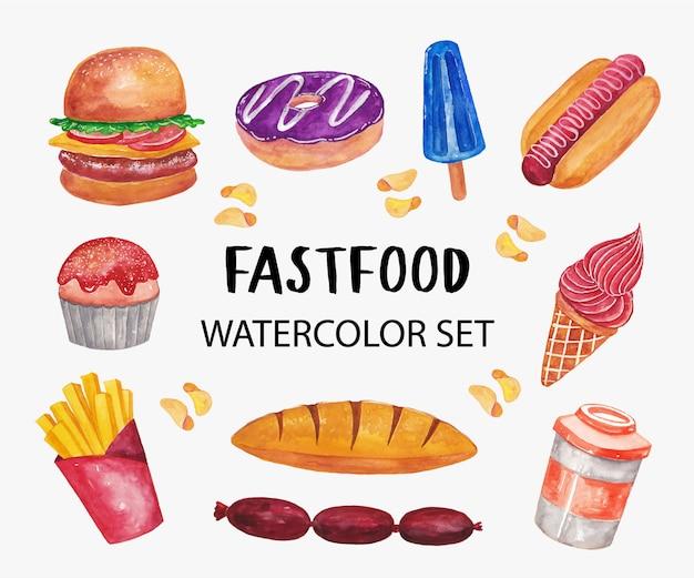 Insieme dell'illustrazione dell'acquerello degli alimenti a rapida preparazione