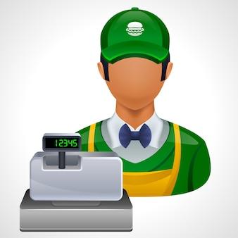 Lavoratore di fast food con registratore di cassa. icona.