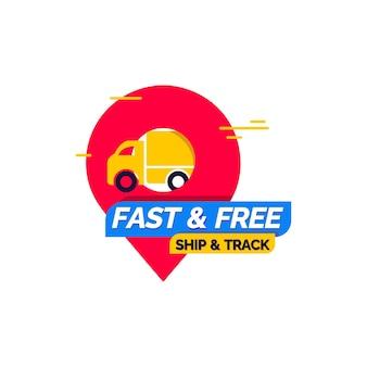 Modello di progettazione di consegna veloce e gratuita Vettore Premium