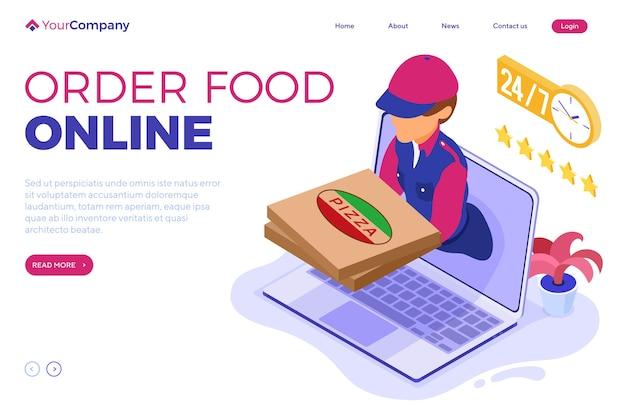 Ordine di cibo online veloce e gratuito e servizio di consegna pacchi. spedizione fast food.