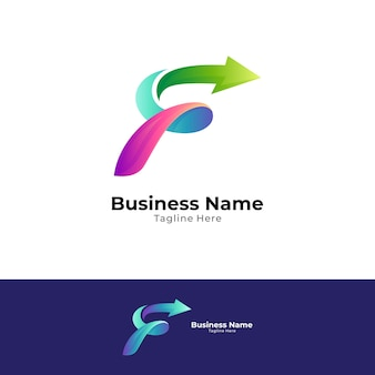 Modello di progettazione di logo lettera f veloce