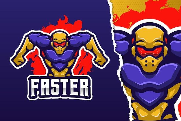Il modello di logo della mascotte dell'uomo veloce