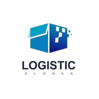 Scatola in rapido movimento, vettore di progettazione logo logistico con simbolo pixel