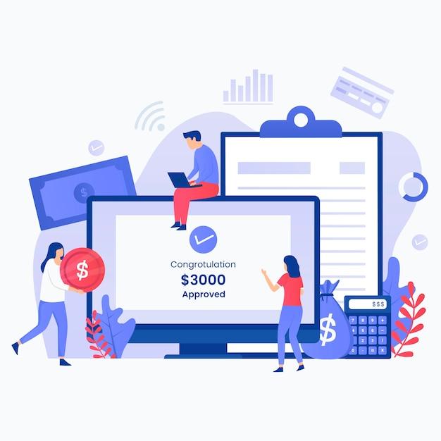 Concetto di illustrazione del processo di prestito online veloce. illustrazione