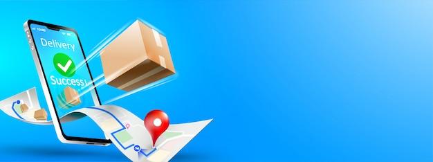 Spedizione del pacco con consegna rapida su smartphone mobile