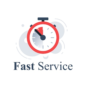 Concetto di servizio veloce, cronometro dell'ultimo minuto, orologio, timer di scadenza, conto alla rovescia dell'ultima offerta, consegna rapida dell'ordine, periodo limitato, icona, illustrazione