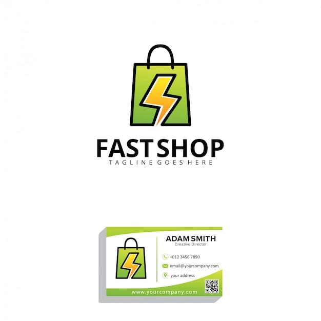 Modello di logo di fast shop