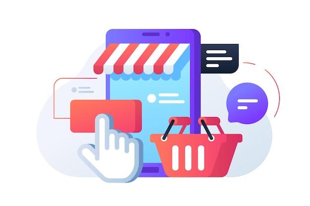 Illustrazione online di acquisto veloce. negozio e cestino stile piatto. acquista i prodotti da casa. bolle con notifica. acquista online il concetto. isolato