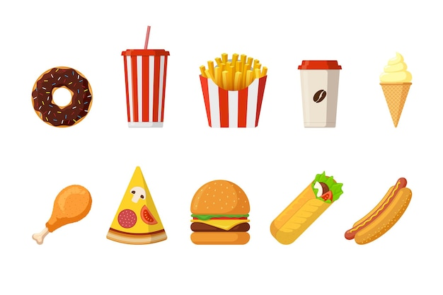 Pranzo o colazione pasto veloce fast food set vettoriale cheeseburger patatine fritte pollo croccante fritto