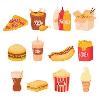 Pranzo fast food o pasto colazione insieme isolato su priorità bassa bianca. cartone animato fast food malsano hamburger panino, hamburger, snack menu ristorante pizza.
