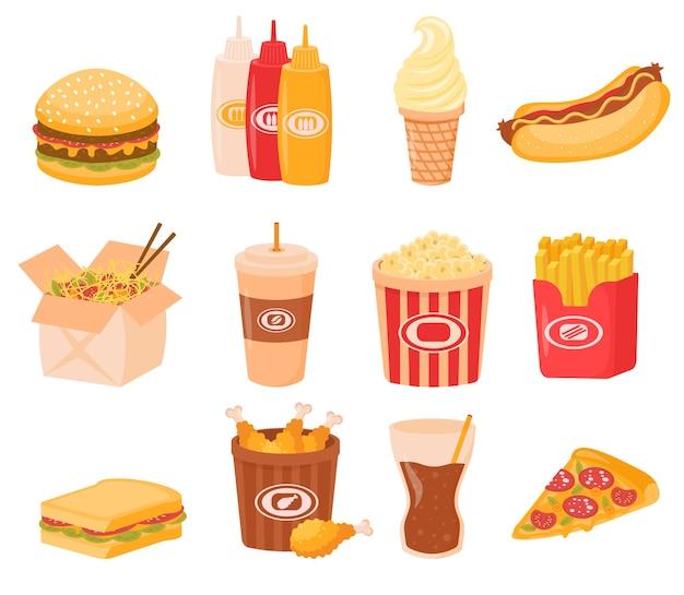 Pranzo fast food o pasto colazione insieme isolato su bianco