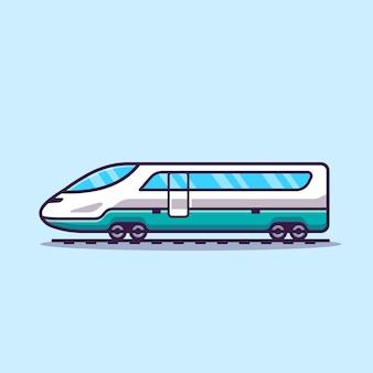 Illustrazione dell'icona di vettore del fumetto del treno veloce. trasporto pubblico concetto icona vettore isolato. stile cartone animato piatto