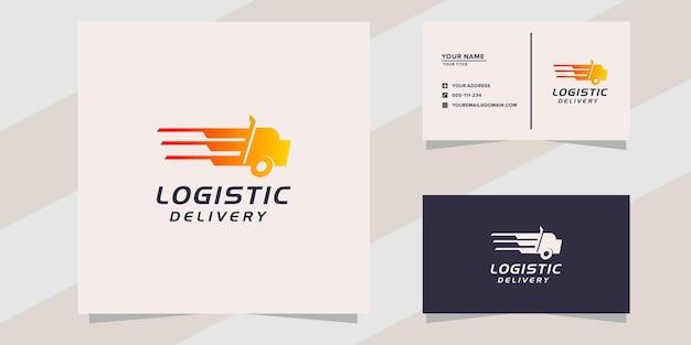 Logo di consegna logistica del camion veloce