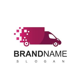 Spedizione e logistica del logo del camion veloce, con il simbolo del camion pixel