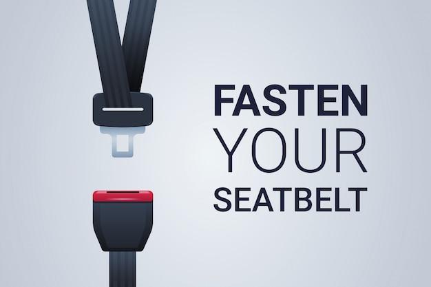 Allacciare la cintura di sicurezza poster viaggio sicuro sicurezza primo concetto orizzontale piatta