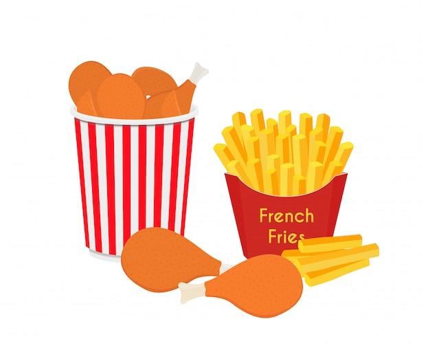 Fastfood - secchio con ali di pollo con patatine fritte