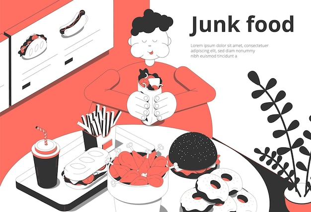 Composizione isometrica interna della barra di caffè di fastfood con il cliente di peso eccessivo che mangia il dessert delle ciambelle degli hamburger di cibo spazzatura