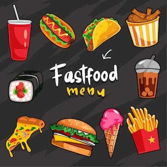 Raccolta di menu fastfood con colore di sfondo nero