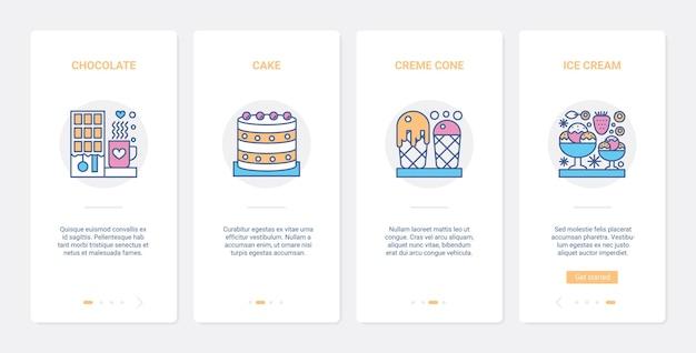 Fastfood dolce dessert per il set di schermate della pagina dell'app mobile onboarding food cafe ux ui