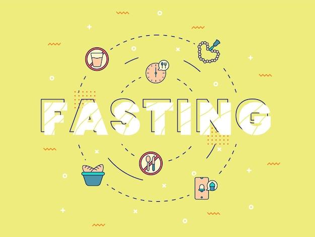 Lettering a digiuno con elementi di ramadan ed eid mubarak