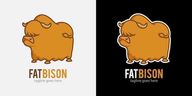 Illustrazione vettoriale logo bisonte grasso